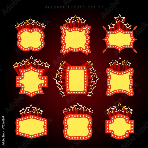 Retro illuminated movie marquee vector set Poster