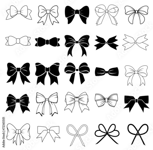 Set of graphical decorative bows. Canvas
