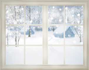 FototapetaWindow with winter view of snowy background.