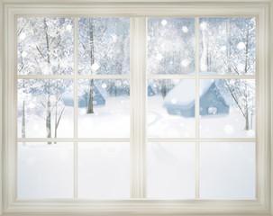 Fototapeta Boże Narodzenie/Nowy Rok Window with winter view of snowy background.