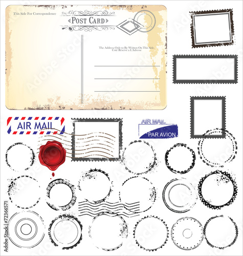 Cuadros en Lienzo Set of post stamp symbols, vector illustration