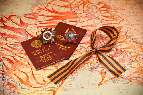 Fotografia  Order of the Red Star, medal book, George Ribbon.
