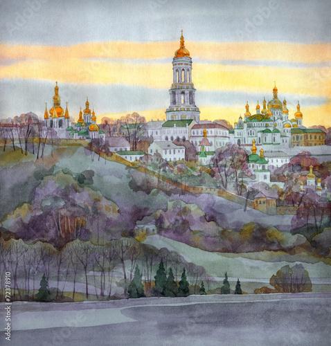 akwarela-grod-klasztor-na-stromym-brzegu-rzeki