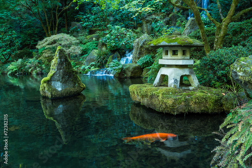 Photo  A Lantern and Waterfall in the Portland Japanese Garden