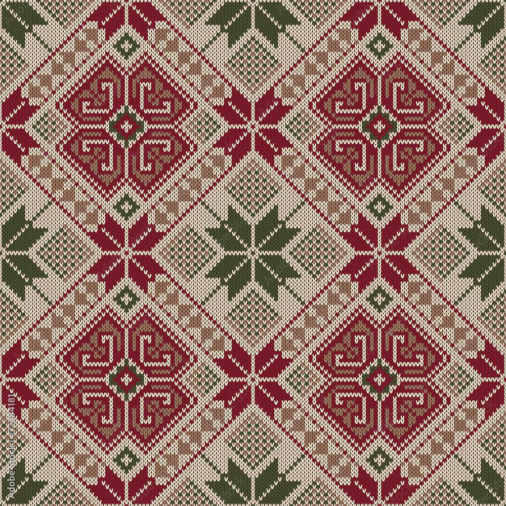 Vector illustration of Folk seamless pattern. Ethnic ornament