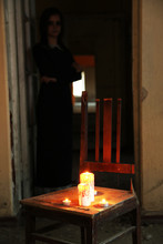 Horror Scene Of With Scary Woman With Candle