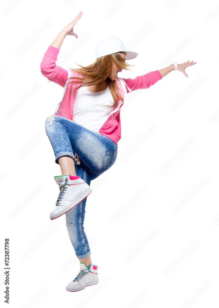 Fotografía Young hip hop dancer dancing isolated on white background ...