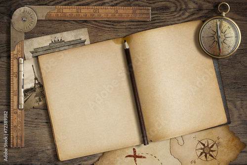Obraz Open blank diary with map, pencil and compass. Adventure and - fototapety do salonu