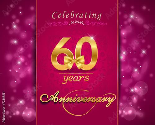 Photographie  60 year anniversary celebration sparkling card, 60th anniversary
