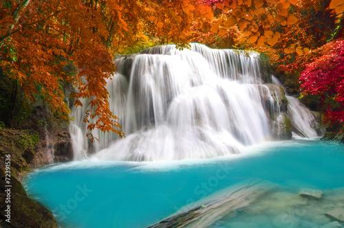 Fototapety, obrazy: Waterfall in deep rain forest jungle (Huay Mae Kamin Waterfall i