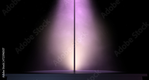 Recess Fitting Light, shadow stripper pole on a stage lit by a single spotlight
