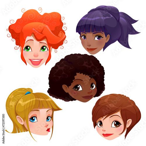 Poster Chambre d enfant Female faces.