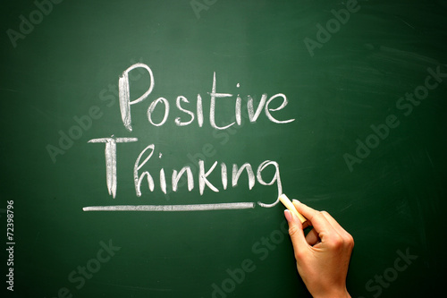 Fotografie, Obraz  Word positive thinking drawn on a chalkboard,business concept