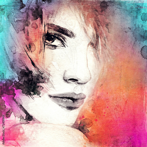 Woman face. Hand painted fashion illustration - 72400949