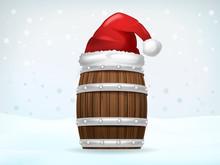 Keg Of Beverage Covered With Santa Cap