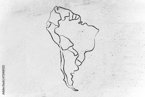 Papiers peints Amérique du Sud world map and continents: borders and states of South America