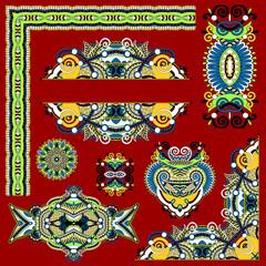 set of paisley floral design elements for page decoration, frame