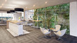 canvas print picture - office lounge with vertical garden