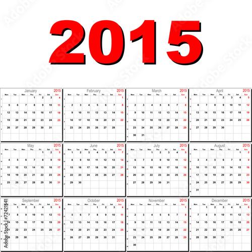 Fényképezés  Vector calendar for 2015