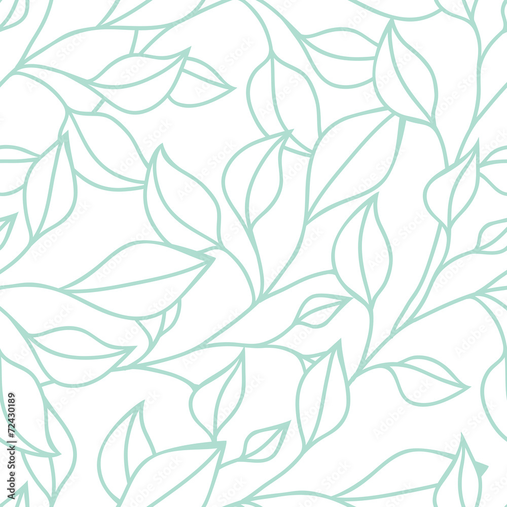 Fototapeta Floral seamless pattern with green leaf. Vector background