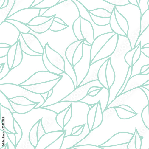 Floral seamless pattern with green leaf. Vector background Fototapet