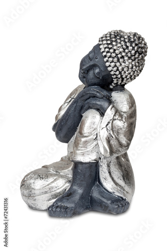 Autocollant pour porte Empreintes Graphiques Black sleeping Buddha isolated over white with clipping path.