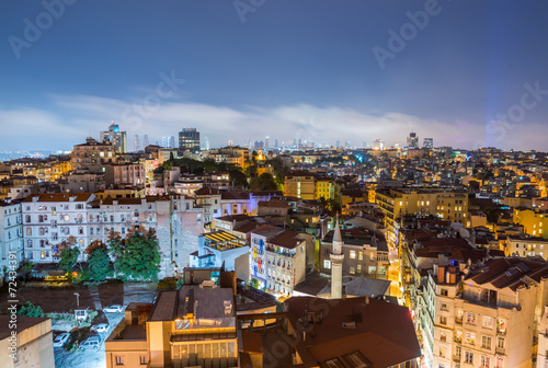Photo  ISTANBUL - SEPTEMBER 17, 2014: City night panorama. Istanbul is
