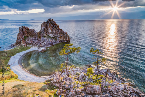Photo Shaman Rock, Lake Baikal in Russia.