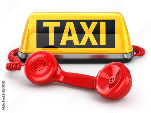 Fotografie, Obraz  Taxi car sign and  telephone on white isolated background.