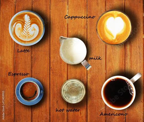 Foto op Plexiglas cup of coffee on wooden desk