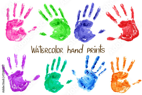 Valokuva  Collection of watercolor hand print