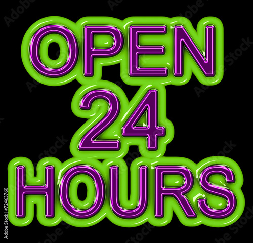 Fotografija  A neon OPEN 24 HOURS sign in purple and green