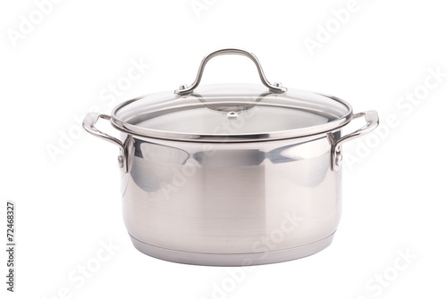 Fotografie, Obraz  Silver cooking pot on white background