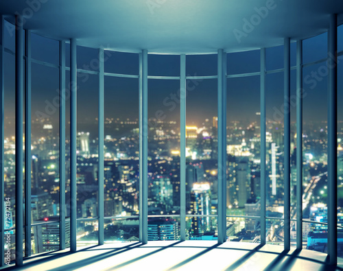 Night view of buildings from high rise window Fototapet