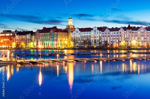 fototapeta na ścianę Wieczorem dekoracje Helsinki, Finlandia