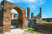 Temple Of Jupiter In Pompeii, Italy. Ancient Roman Ruins Near Naples.