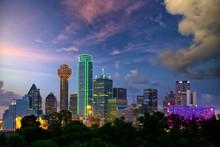 Dallas City Skyline At Dusk, T...