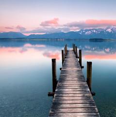 Naklejka Alpenglühen am See