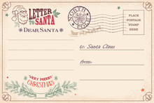 Vintage Letter To Santa Claus Postcard