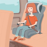 Illustration of a girl sitting in a car seat for children