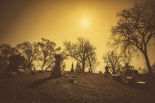 Old Cemetery - Vintage Look With Sun Light