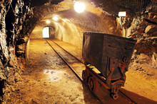 Underground Train In Mine, Carts In Gold, Silver And Copper Mine