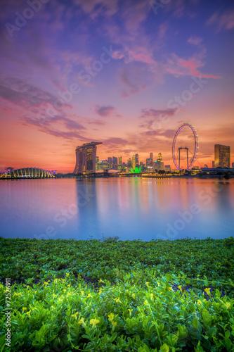Photo  Singapore Skyline at sunset