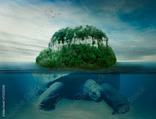 Poster Tortue giant turtle carrying island the earth on back swimming in ocean