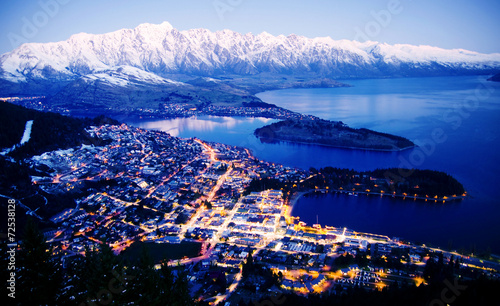 Photo Stands Blue sky Mountain Cityscape Lake Travel Destinations