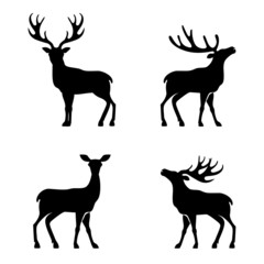 Fototapeta Deer collection - vector silhouette