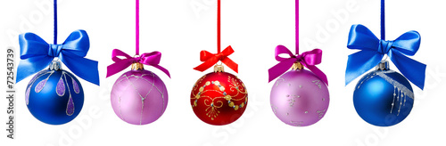 Photo Christmas balls with ribbon isolated