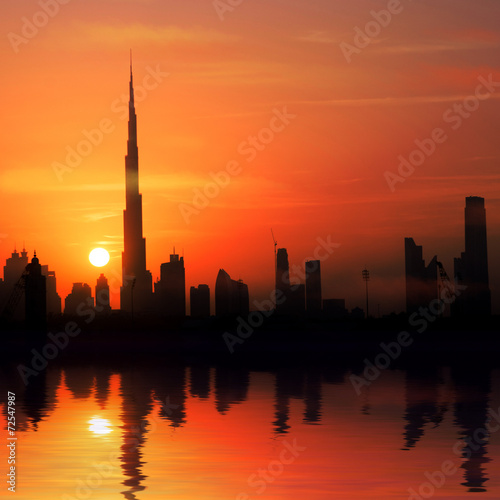 city in the rays of the setting sun Canvas Print