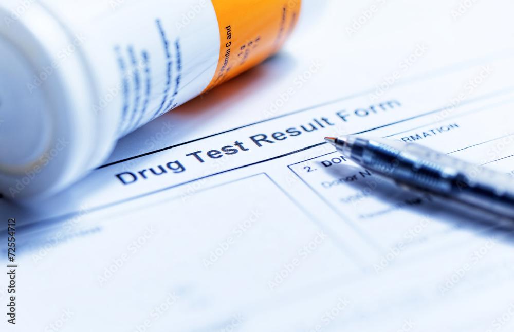 Fototapety, obrazy: Drug test blank form