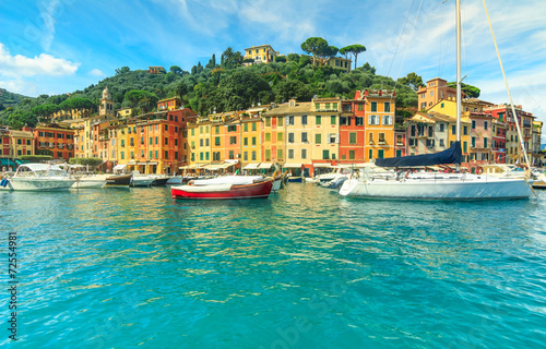 Canvas Prints Portofino panorama,and colorful houses,Liguria,Italy
